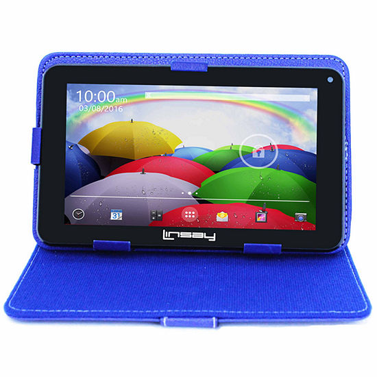 "LINSAY 7"" Quad-Core 2GB RAM 16GB Android 9.0 Pie Tablet with Blue Standing Case"