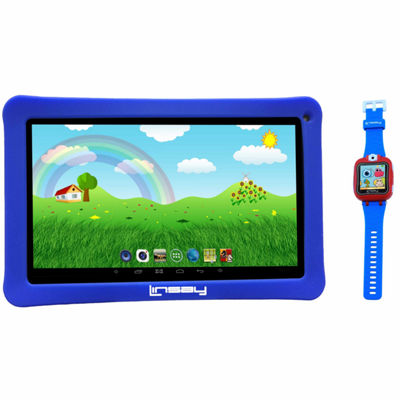 "LINSAY® Kids Bundle with Blue Kids Smartest Watch on Earth with Camera and 10.1"" Quad Core 1024x600 HD Kids Tablet with Blue Kids Defender Case"