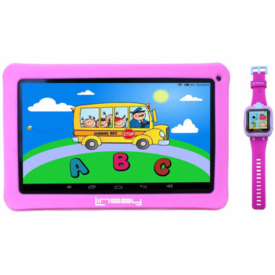 """LINSAY® Kids Bundle with Pink Kids Smartest Watch on Earth with Camera and 10.1"""" Quad Core 1024x600 HD Kids Tablet with Pink Kids Defender Case"""