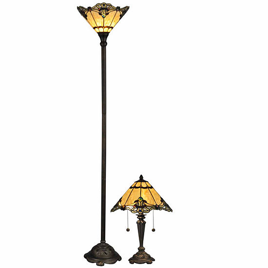Dale Tiffany 2 Pc Brena Tiffany Torchiere Table Lamp Set