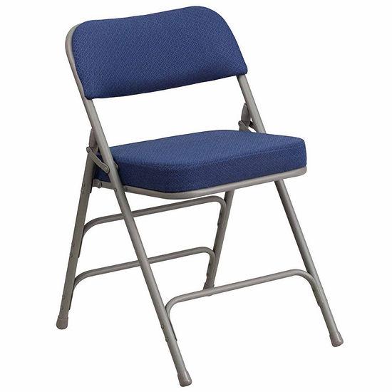 HERCULES Series Premium Curved Triple Braced & Hinged Fabric Upholstered Metal Folding Chair