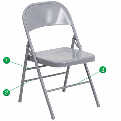 HERCULES Series Triple Braced & Double Hinged Metal Folding Chair