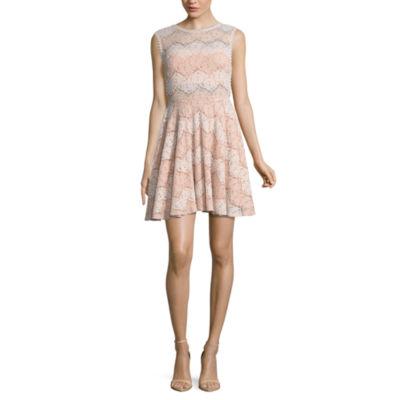 City Triangle Resort Sleeveless Waves A-Line Dress-Juniors