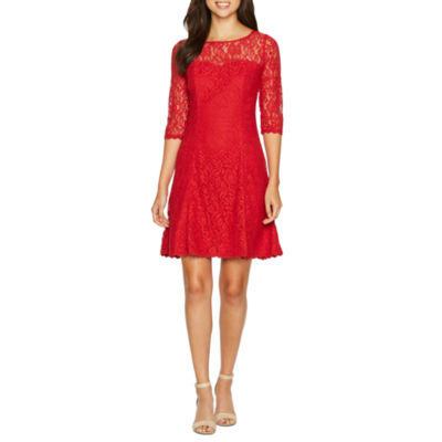 R & K Originals Elbow Sleeve Lace Fit & Flare Dress