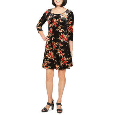 Perceptions 3/4 Sleeve Velvet Floral Fit & Flare Dress