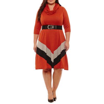 Robbie Bee 3/4 Sleeve Chevron Fit & Flare Dress - Plus