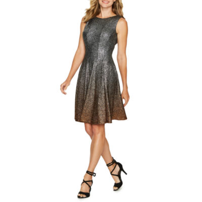 MSK Sleeveless Ombre Fit & Flare Dress
