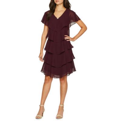 S. L. Fashions Short Sleeve Embellished A-Line Dress