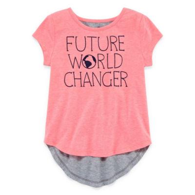 Okie Dokie Short Sleeve Graphic T-Shirt-Toddler Girls