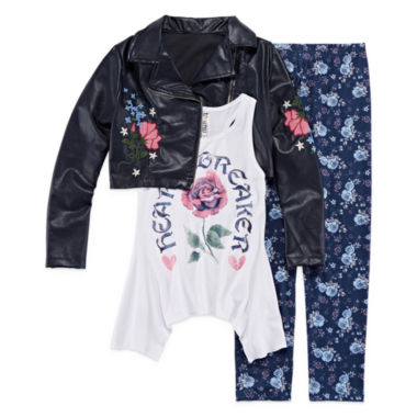 Knit Works Embroidered Moto Jacket with Tank and Legging Set- Girls' 7-16 & Plus
