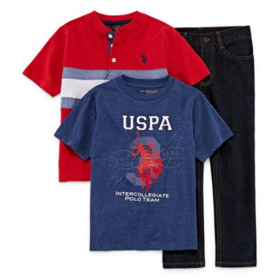Us Polo Assn. 3-pc. ss henley set