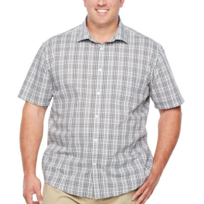 Claiborne Short Sleeve Plaid Button-Front Shirt-Big and Tall
