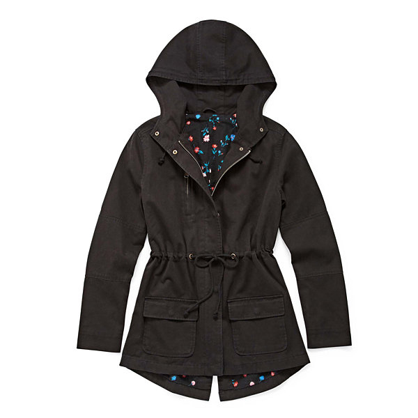Arizona Twill Black Floral Lined Jacket - Juniors