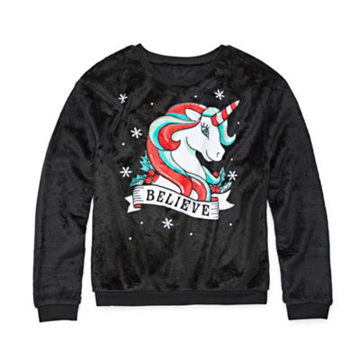 Fuzzy Ugly Christmas Sweatshirt-Juniors