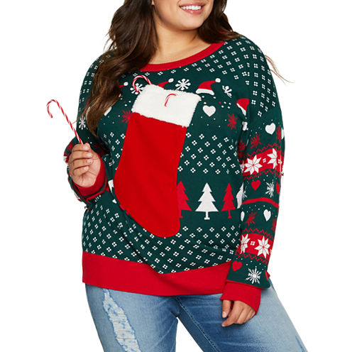 Christmas Stocking Sweater- Juniors Plus
