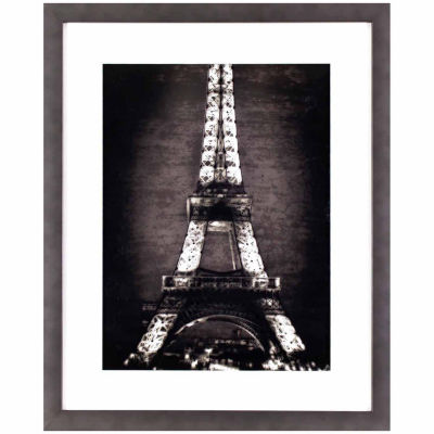 Decor Therapy Black and White Eiffel Tower in Gunmetal Silver Frame