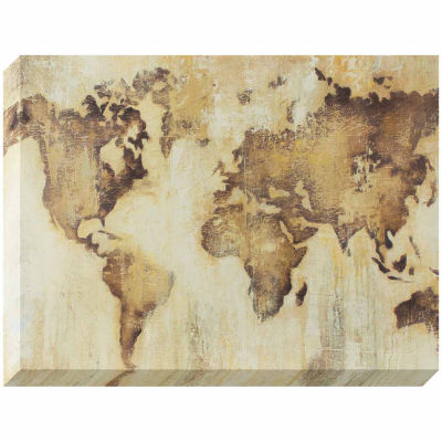 Decor Therapy Map of The World Stretched Canvas