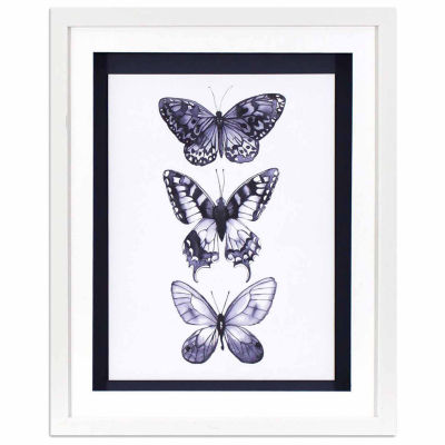 Decor Therapy Monochrome Butterflies in White Finish Frame