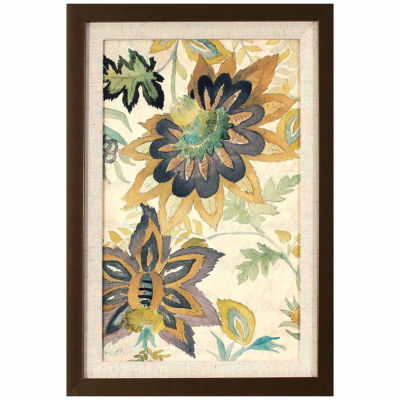 Decor Therapy Damask Florals in Golden Bronze Finish Frame