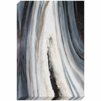 Decor Therapy Grey Agate Stretched Canvas with Brushstroke Texture