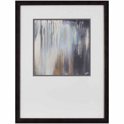Decor Therapy Blue and Brown Paysage in Gunmetal Silver Frame
