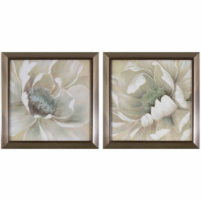 Decor Therapy Antiqued White Flowers in Stainless Steel Frame - Set of 2