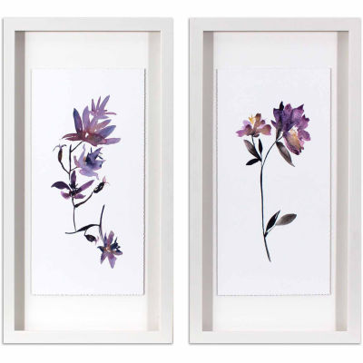 Decor Therapy Violet Watercolor Flowers in White Frame - Set of 2