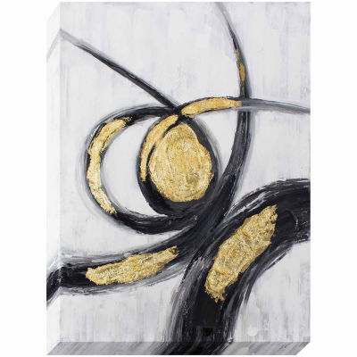 Decor Therapy Gold and Black Gestures Oil Painted Canvas
