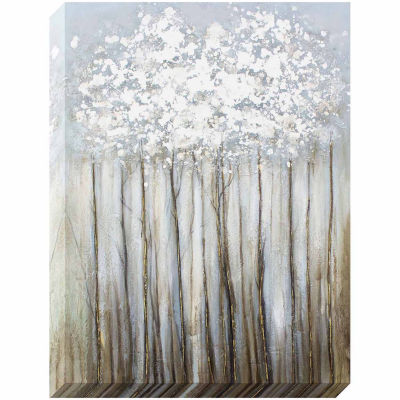 Decor Therapy Silver Foliage Metallic Oil Painted Canvas