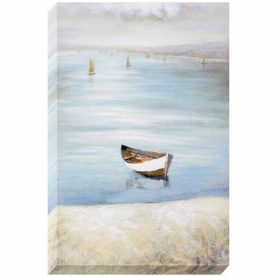 "Decor Therapy ""Lonely Row Boat"" Oil Painted Canvas"