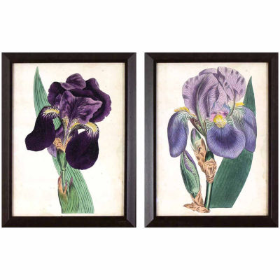 Decor Therapy Purple Irises in Dark Wood Grain Frame - Set of 2