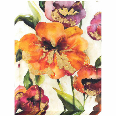 Decor Therapy Bright Hibiscus Flowers Stretched Canvas Gold Foil Accents