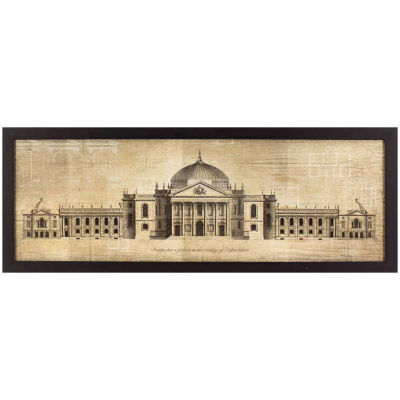 Decor Therapy Oxfordshire Palace Blueprint in Black and Gold Wood Grain Frame