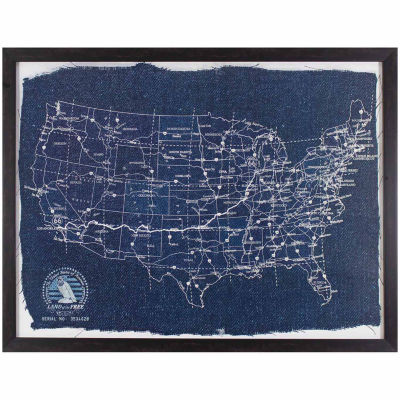 Decor Therapy Map of America Blueprint in Dark Brown Frame