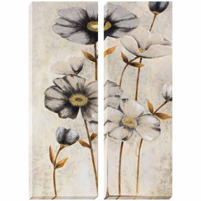 Decor Therapy Vintage Grey Poppies Oil Painted Canvas - Set of 2