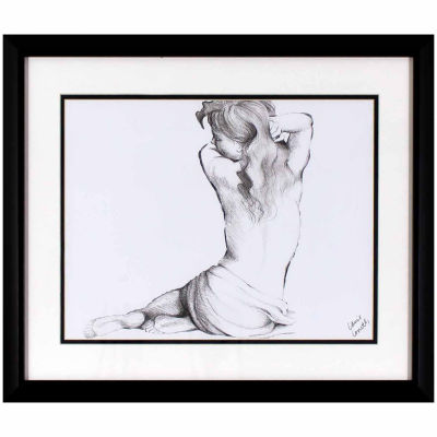 Decor Therapy Sketched Figure in Black Frame