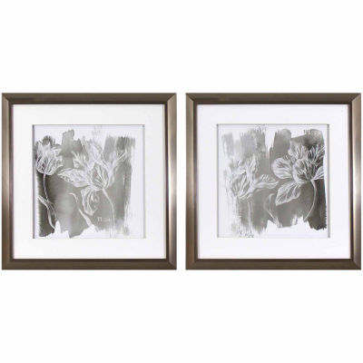 Decor Therapy 2 Pc Grey Tulips Framed Art