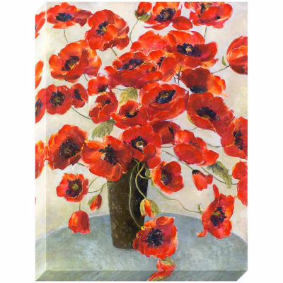 Decor Therapy Crimson Flowers in Vase Stretched Canvas