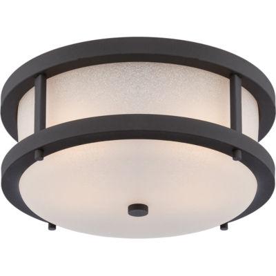 Filament Design 2-Light Textured Black Outdoor Flush Mount