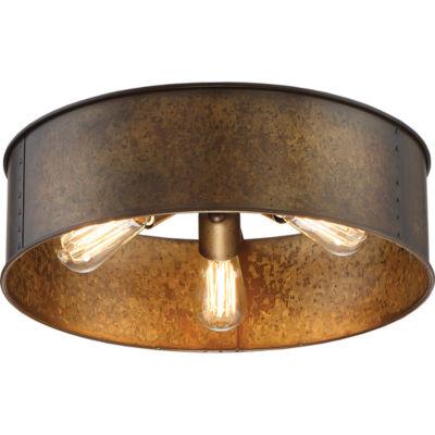 Filament Design 3-Light Weathered Brass Flush Mount