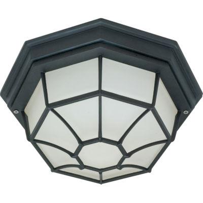 Filament Design 1-Light Textured Black Outdoor Flush Mount