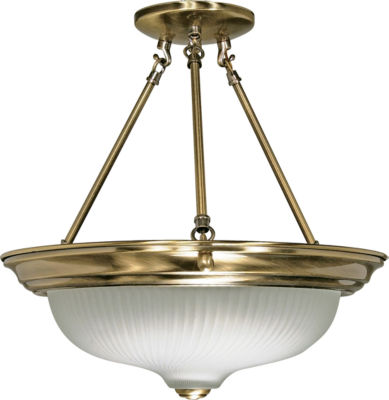 Filament Design 3-Light Antique Brass Semi-Flush Mount