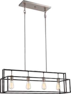 Filament Design 4-Light Iron Black With Brushed Nickel Accents Pendant Island Pendant