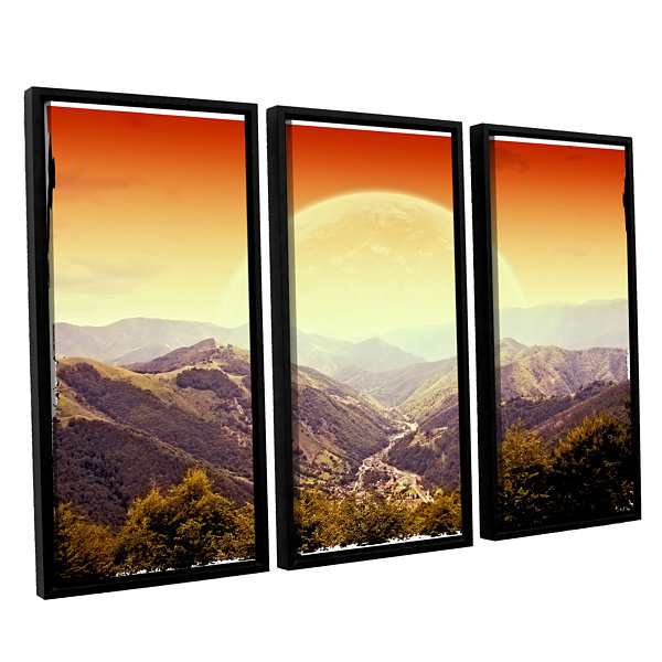 Brushstone Brushstone Highland Sunset 3-pc. Floater Framed Canvas Wall Art