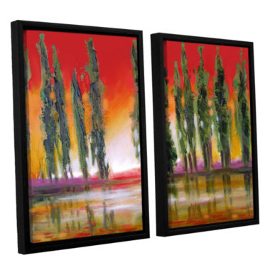 Brushstone Tuscan Cypress Sunset 2-pc. Floater Framed Canvas Wall Art
