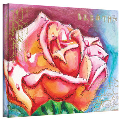 Brushstone Pink Rose Dew Gallery Wrapped Canvas Wall Art