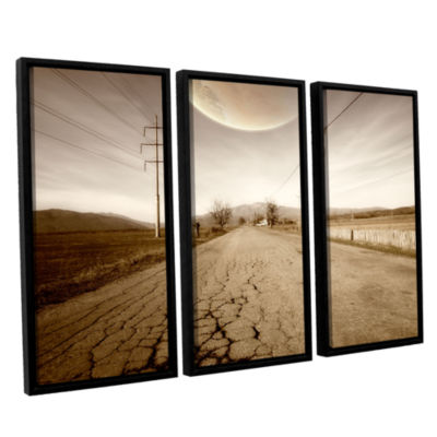 Brushstone The Road-Planet Side 3-pc. Floater Framed Canvas Wall Art