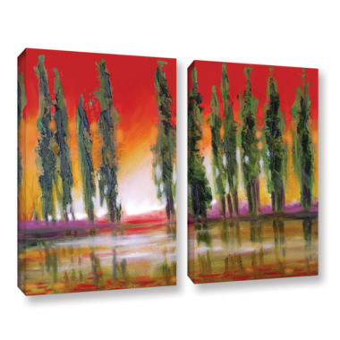 Brushstone Tuscan Cypress Sunset 2-pc. Gallery Wrapped Canvas Wall Art