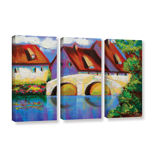 Brushstone Brushstone German Village on Rhine 3-pc. Gallery Wrapped Canvas Wall Art