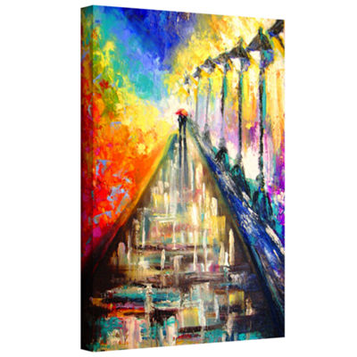 Brushstone Rainy Paris Evening Gallery Wrapped Canvas Wall Art